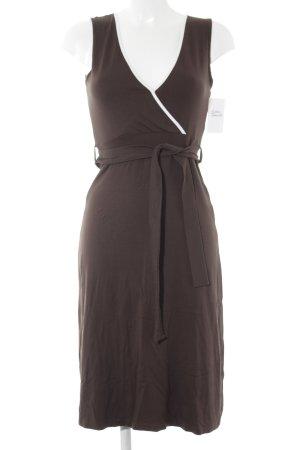 Mexx schulterfreies Kleid braun-weiß Business-Look