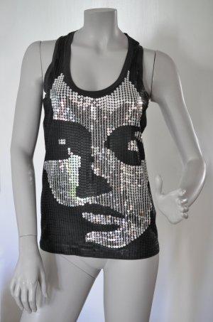 Mexx Shirt Top anthrazit mit Pailletten in Silber und matt Schwarz Gr. M