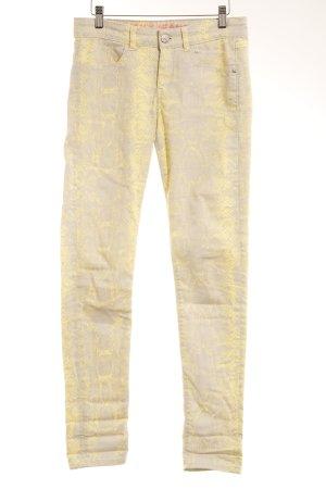 Mexx Slim Jeans gelb-hellgrau Animalmuster Animal-Look