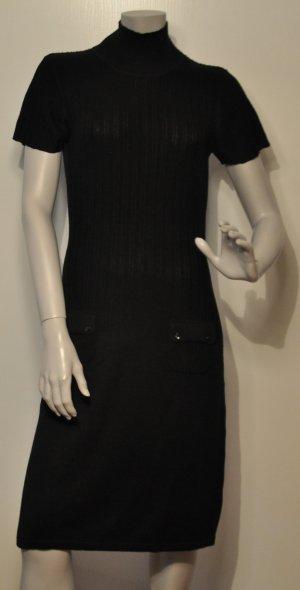Mexx Strickkleid mit Schildkrötkragen schwarz Viskose Acryl Gr. M