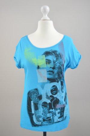 Mexx T-Shirt mit Aufdruck blau Größe M