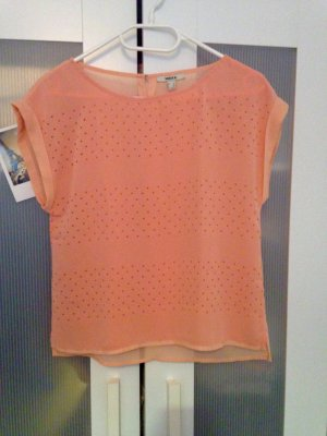 Mexx T-Shirt mit Perforation & hinterer Knopfleiste