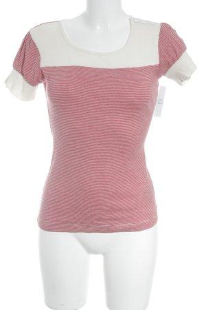 Mexx T-Shirt rot-weiß Streifenmuster Zierknöpfe