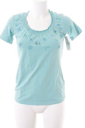 Mexx T-Shirt türkis-hellblau Perlenverzierung