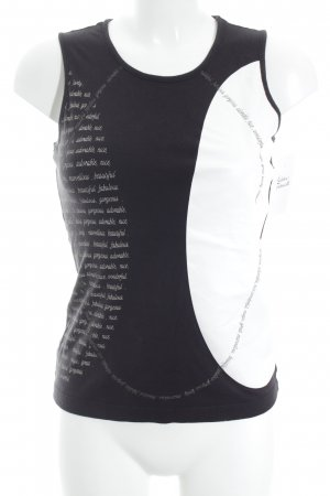 Mexx Tanktop schwarz-weiß Schriftzug gedruckt Casual-Look