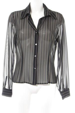 Mexx Transparenz-Bluse schwarz-olivgrün Streifenmuster Casual-Look