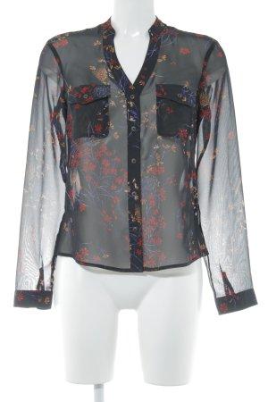 Mexx Transparenz-Bluse schwarz-rot Blumenmuster Casual-Look