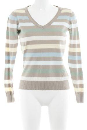 Mexx V-Ausschnitt-Pullover Streifenmuster Casual-Look