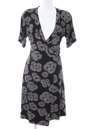 Mexx Robe portefeuille noir-blanc motif abstrait style romantique
