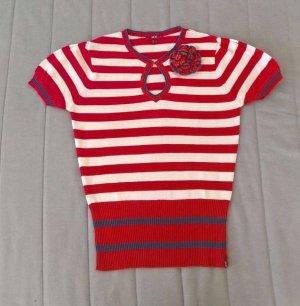 Mexx, XX by MEXX Damen Strickpolo, T-Shirt, Rot/Weiß Streifen, Größe: S