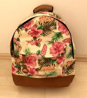 Mi-Pac Rucksack Tropical Hibiscus Blumen pink Damen beige grün Creme Daypack