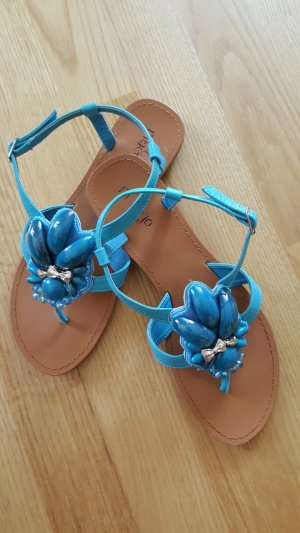 Sandalo toe-post blu neon Finta pelle
