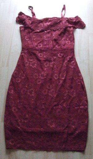 Vestido de encaje burdeos Algodón