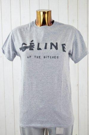 T-shirt gris clair-noir coton