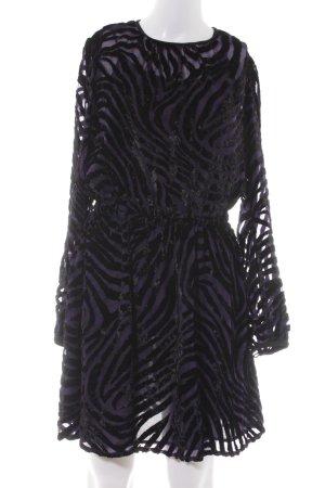 Michael Kors A-Linien Kleid schwarz-lila Animalmuster extravaganter Stil