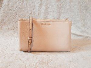 Michael Kors Adele Double Zip Crossbody Bag Clutch Leder Oyster Nude