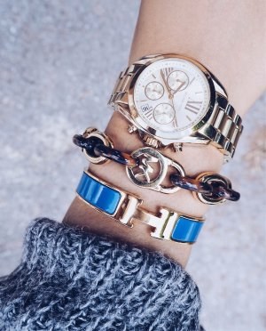 Michael Kors Armband goldfarben-hellbraun Street-Fashion-Look