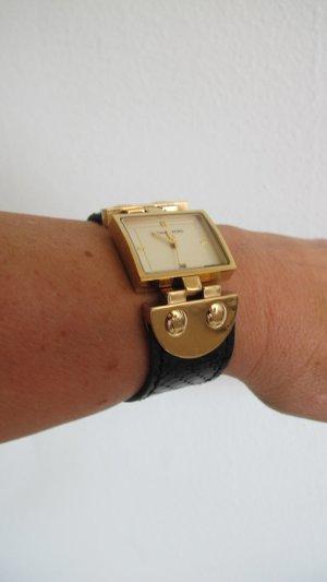 Michael Kors Montre avec bracelet en cuir noir-doré