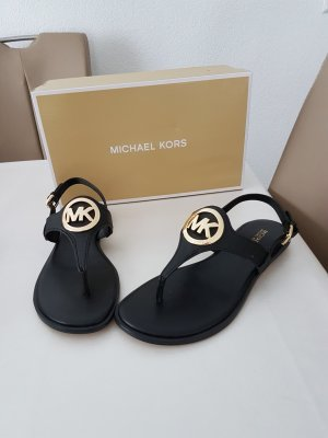Michael Kors Toe-Post sandals black-gold-colored imitation leather