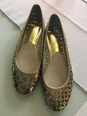 Michael Kors Ballerinas gold MK Prägung