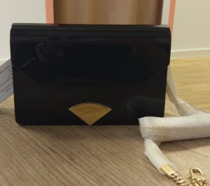 Michael Kors Barbara Envelope Clutch Schwarz gold Crossbody Wet Look Tasche