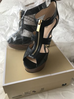 Michael Kors Platform High-Heeled Sandal black-gold-colored