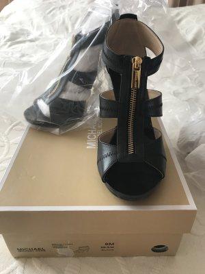 Michael Kors BERKLEY T STRAP High Heel Sandaletten schwarz 38-38,5 NEU