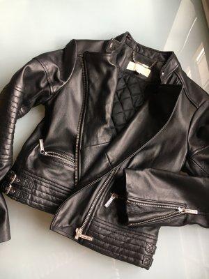 Michael Kors Bikerjacke Lederjacke schwarz silber echt Leder