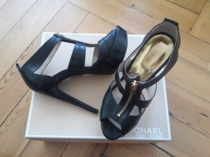 MICHAEL KORS Black Berkley Leather Strap Sandals, Größe 37