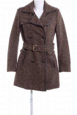 Michael Kors Heavy Pea Coat brown-black weave pattern business style