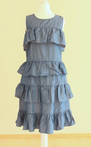Michael Kors Chambray Kleid mit Volants blau Gr. M neu