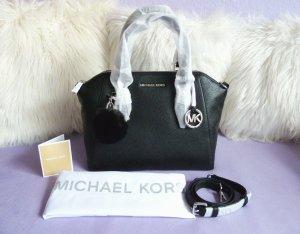Michael Kors Ciara LG TZ Satchel Schwarz Silber + Pom Pom