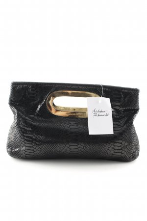 Michael Kors Clutch schwarz-goldfarben Animalmuster Lack-Optik