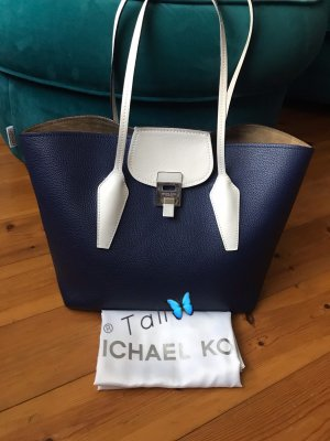 Michael Kors Collection Tasche Bancroft Tote Large LG Royal Blau Weiss Silber