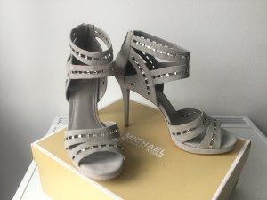 MICHAEL KORS Damen Suede Hot Fix Sandaletten in Perl Grey Gr.40 (9M)