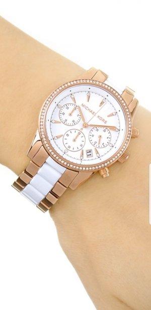 Michael Kors Horloge met metalen riempje wit-rosé