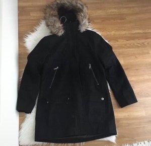 Michael Kors Damen Winter Woll Mantel Gr S mit Fell Schwarz