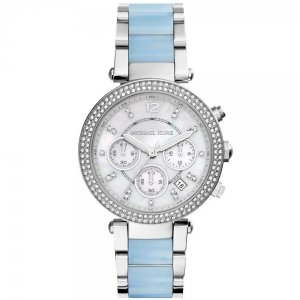 Michael Kors Self-Winding Watch neon blue-light grey stainless steel