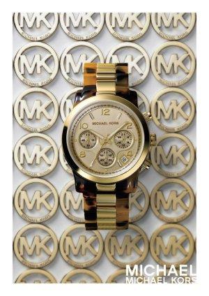 Michael Kors Reloj analógico marrón-amarillo neón