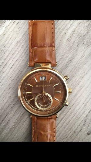 Michael Kors Damenuhr Chronograph Sawyer MK2424 Leder Farbe Braun Gelbgold