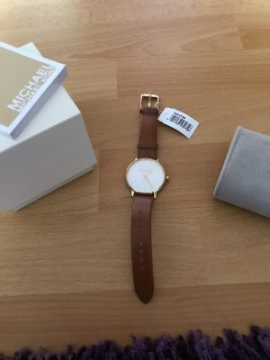Michael Kors Watch With Leather Strap brown-light brown