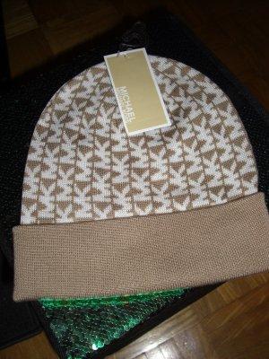 Michael Kors Sombrero de punto blanco-marrón arena Algodón