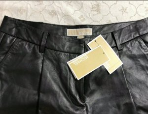 Michael Kors Pantalón de cuero negro