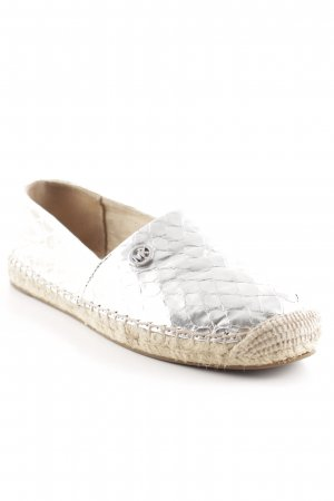 "Michael Kors Espadrilles-Sandalen ""Kendrick Slip On Metallic Embossed Leather Silver 37"""