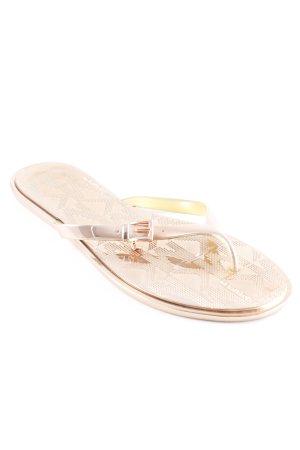 Michael Kors Flip Flop Sandalen roségoldfarben Monogram-Muster Glanz-Optik