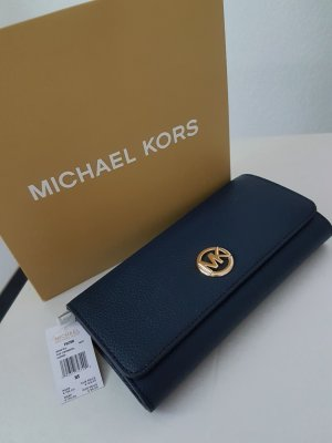 Michael Kors Fulton Flap Continental Geldbeutel Geldbörse Portmonee navy blau dunkelblau gold neu original Leder