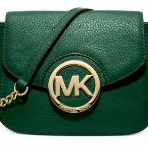 Michael Kors Fulton Leather Small Crossbody Bag, Grün NEU