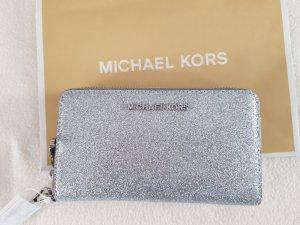 Michael Kors Geld-und Handytasche silver mit Glitzer