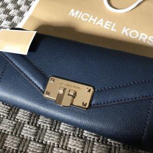 Michael Kors Geldbörse Geldbeutel Portemonnaie dunkelblau blau Marine Gold