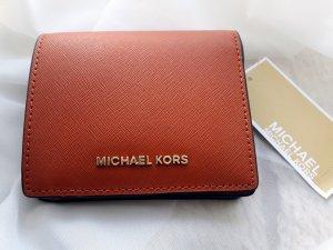 Michael Kors Geldbörse, Portemonnaie Jet Set Travel Orange, Gold
